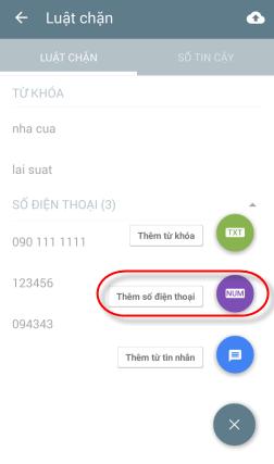 Thêm chặn số điện thoại